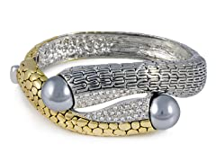 Regal Jewelry 18K Gold-Plated With Grey Pearl With Simulated Diamonds Bangle