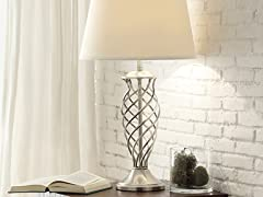 Accent Table Lamp with Satin Nickel Contoured Cage Base