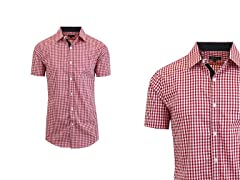 Men's SS Gingham Plaid Dress Shirt