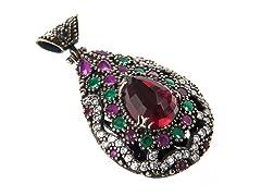 SS Dyed Emerald & Ruby Genuine Semi-Precious Gemstone CZ Pendant