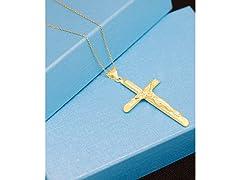 18K Gold Plated Crucifix Cross Neckalce