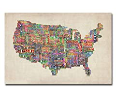 US Cities Text Map VI  18x24 Canvas