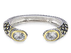 Regal Jewelry 18K Gold-Plated Simulated Diamond Bangle With Design