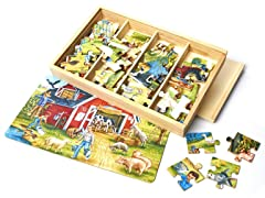 Country Farm 4 Puzzles in a Box