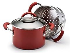 3 Qt Sauce w/Steamer Insert Red