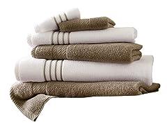 6-Piece Quick-Dry Striped Towel Set