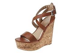 Carrini Strappy Wedge Sandal, Tan