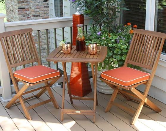 3 Piece Square Bistro Set Orange Cushions Tools Garden