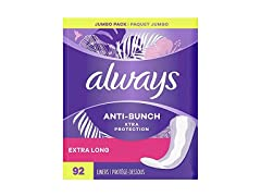 Always Xtra Protection Daily Liners Extra Long Unscented, 92 Count