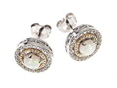 Silver & 14k Gold Opal Earrings