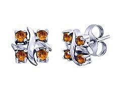 SS Citrine X Earrings