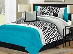7-Pc Bentley Comforter Set- Blue-Queen