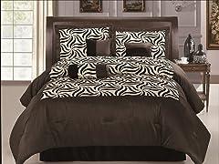 Zebra 7pc Comforter Set - Brown - 2 Sizes