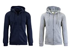 Fleece Lined Zip Up Hoodie 2-Pack