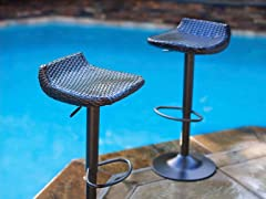 Deco Woven Outdoor Barstool Set of 2