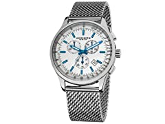 Akribos Chronograph Watch, Silver/Blue