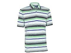 Performance Ombre Stripe Golf Shirt - White/Green