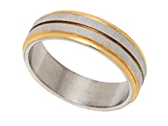 2-Tone Gold Plated Stainless Steel Ring