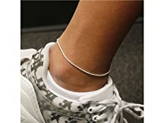 "Sterling Silver 9"" Rope Anklet"
