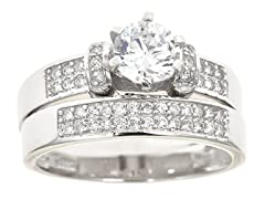 18kt WG Plated SS Dual Row Sim Diamond Engagement Ring Set