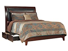 City II Cal King Faux Leather Storage Bed