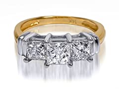 2.00 CTTW 3-Stone Princess Cut Diamond Ring - Yellow Gold