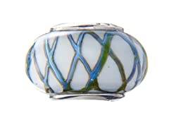 White & Blue Basketweave Glass Bead