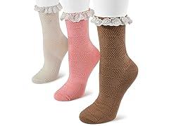 MUK LUKS 3-pk Lace Woven Crew Socks