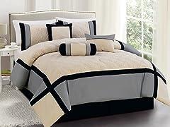 Odessa 7pc Comforter Set - Black - 2 Sizes