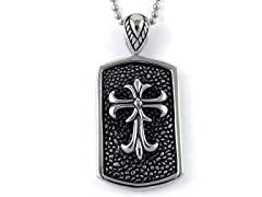 Oxidized SS Hammered Design Fancy Fleur De Lis Dog Tag Pendant