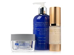 Anti-Aging Eye Serum, Facial Scrub, & Cleansing Milk