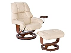 Bonded Leather Recliner & Ottoman Taupe