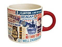 "Presidential Slogan Coffee Mug - From ""Tippecanoe And Tyler Too"" To ""Yes We Can"""
