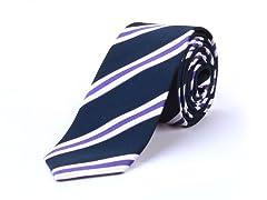 Silk Tie, Navy w/ Stripes