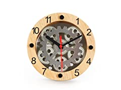 "6"" Table/Wall Moving Gear Clock -Wooden"