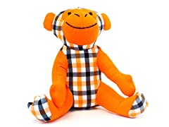 Mica the Monkey- Orange & Black Plaid
