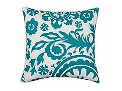 Suzani True Turquoise 17x17 Pillow