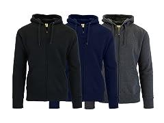 Men's Fleece-Lined Zip Sweater Hoodie 3PK