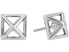 Rebecca Minkoff Rhodium-Plated Pyramid Button Stud Earrings
