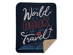 """Travel the World"" Sherpa Blanket"