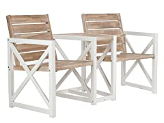 Jovanna 2-Seat Bench, White/Oak