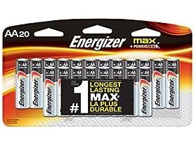 Energizer AA Batteries, Max Alkaline 20 ct