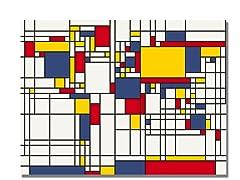 Mondrian World Map 18x24 Canvas