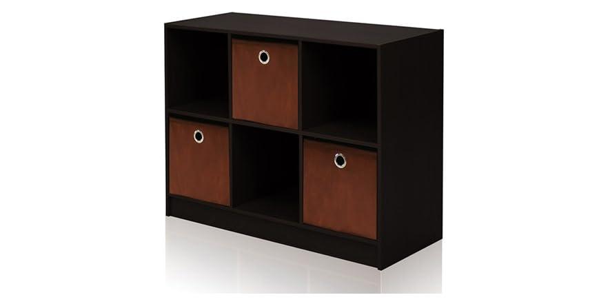 bookcase storage w bins. Black Bedroom Furniture Sets. Home Design Ideas