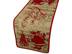 Saint Nick Printed Burlap Christmas Table Runner