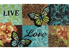 Live Love Laugh Weather-Resistant Outdoor Coir Doormat