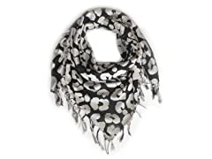 Kitara  Big Animal Print Scarf Black & White