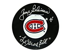 Jean Beliveau Canadians Signed Puck