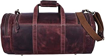 Leather Travel Duffle Barrel Bag