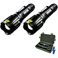 2-Pack Army Gear 1000 Lumen Viper Rechargeable Tactical Flashlight